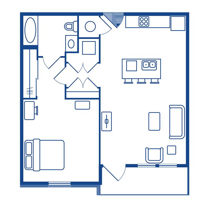 1 Bedroom & 1 Bath Apartment Floorplans