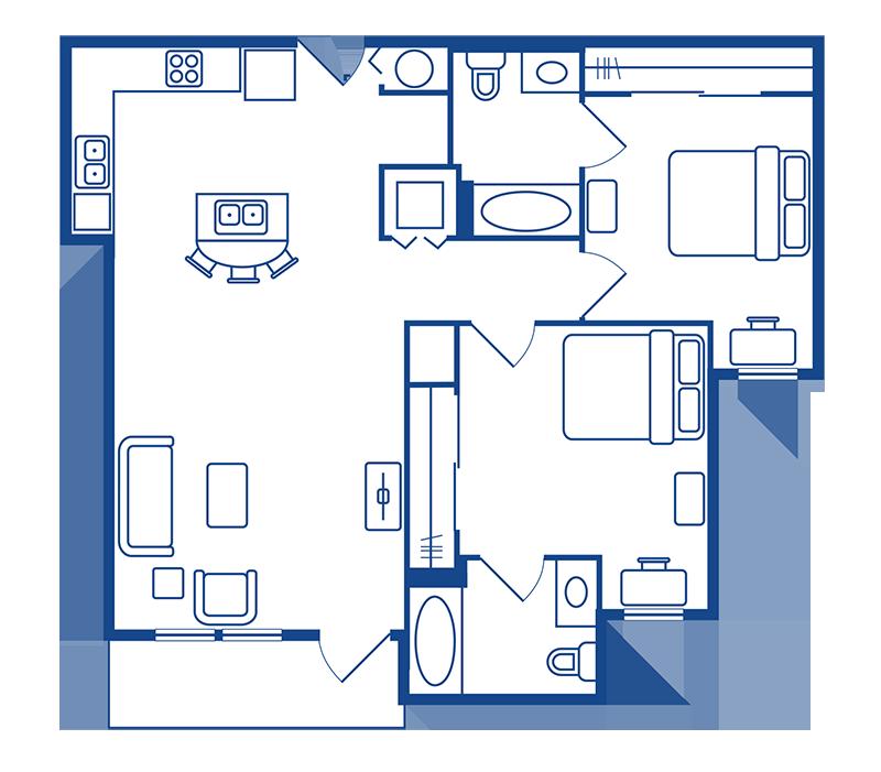 2 Bedroom & 2 Bath Apartment Floorplans