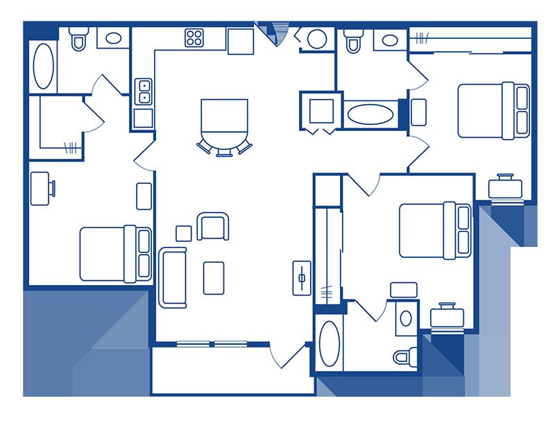 3 Bedroom & 3 Bath Apartment Floorplans
