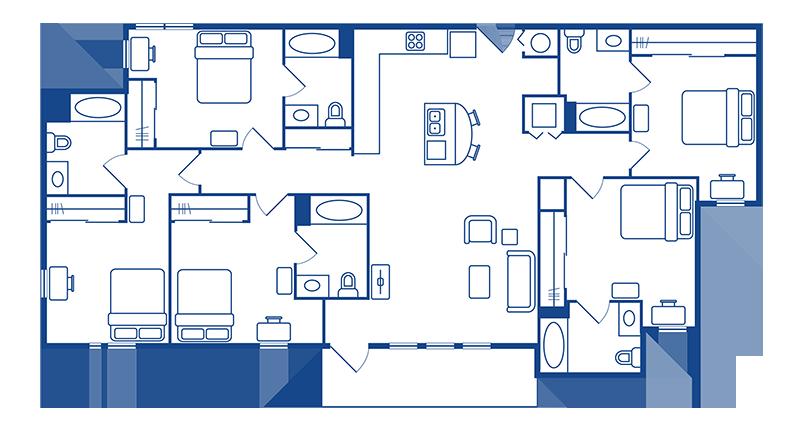 5 Bedroom & 5 Bath Apartment Floorplans